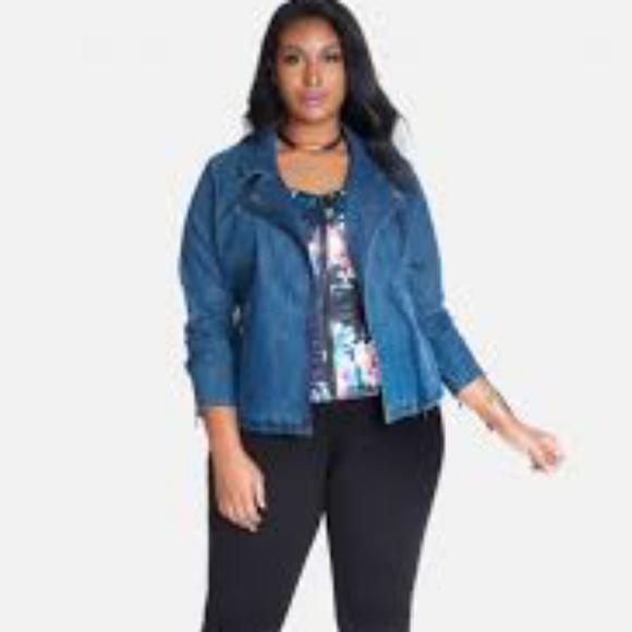 5a41fa3b52aea Plus Size Denim Moto Jacket Fashion to Figure